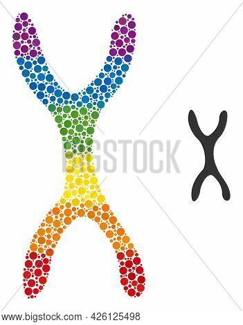 Chromosome Collage Icon Of Filled Circles In Different Sizes And Rainbow Colored Color Tones. A Dott
