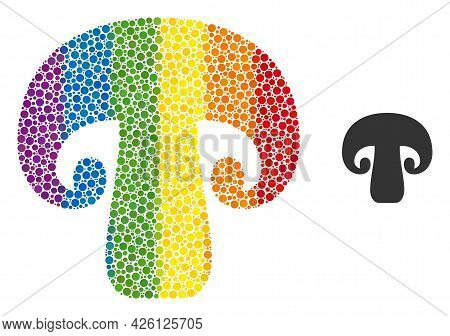 Champignon Mushroom Collage Icon Of Round Items In Various Sizes And Spectrum Color Tones. A Dotted