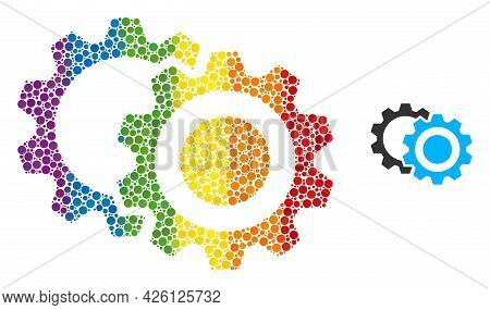 Gears Mosaic Icon Of Round Dots In Variable Sizes And Spectrum Multicolored Color Hues. A Dotted Lgb