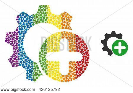Add Settings Gear Collage Icon Of Round Dots In Variable Sizes And Rainbow Colored Color Hues. A Dot