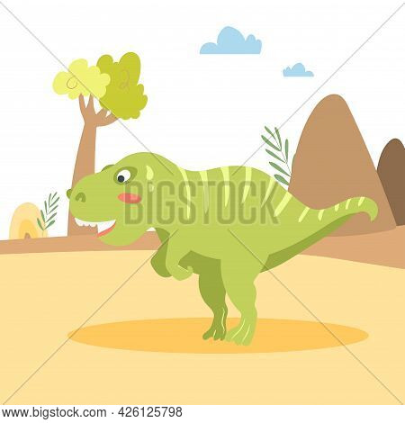Cartoon Cute Tyrannosaurus On The Background Of Nature. Vector Illustration For Baby Design