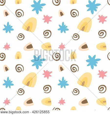Seamless Pattern With Cute Simple Flowers And Decorative Elements On White Background. Vector Endles