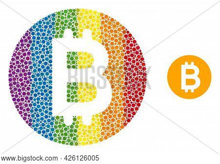 Bitcoin Gold Coin Composition Icon Of Spheric Dots In Different Sizes And Spectrum Colored Color Tin
