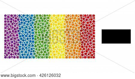 Rectangle Composition Icon Of Round Items In Different Sizes And Spectrum Colored Color Tints. A Dot