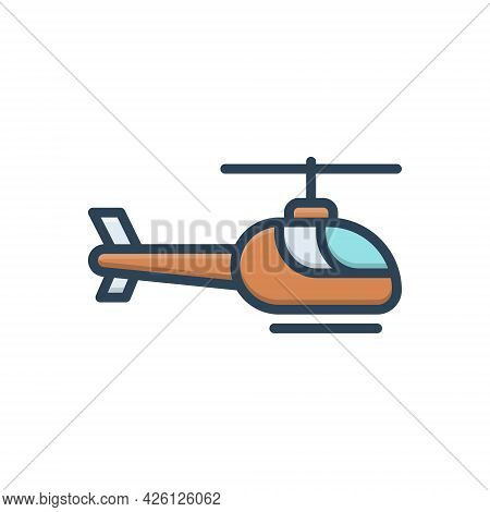 Color Illustration  Icon For Helicopter Chopper Transportation Rescue Aircraft Propeller