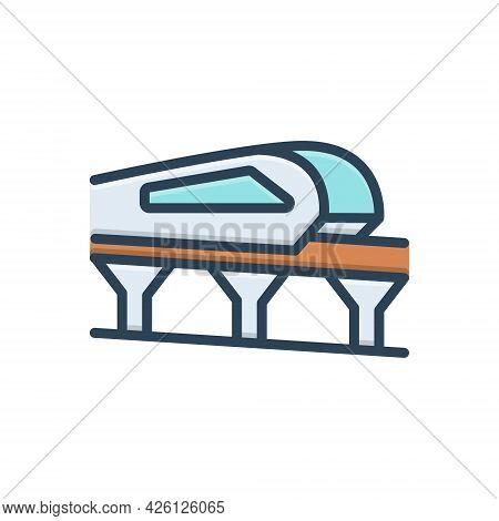 Color Illustration  Icon For Monorail Carriage Journey Passenger Transport Train Bridge