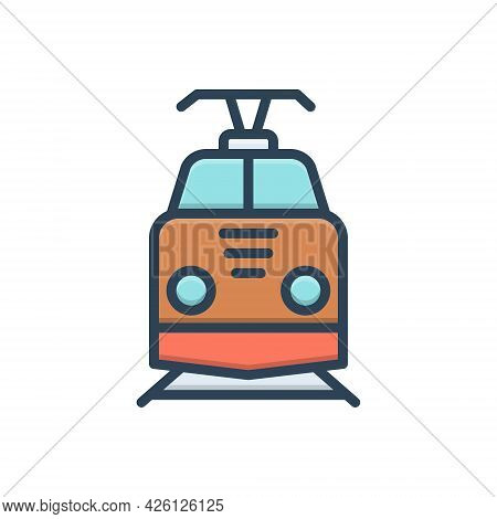 Color Illustration  Icon For Train Subway Railway Tram Rail Transport Railroad Track