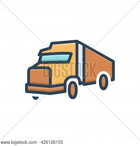 Color Illustration  Icon For Transport Carriage Truck Roadster Vehicle
