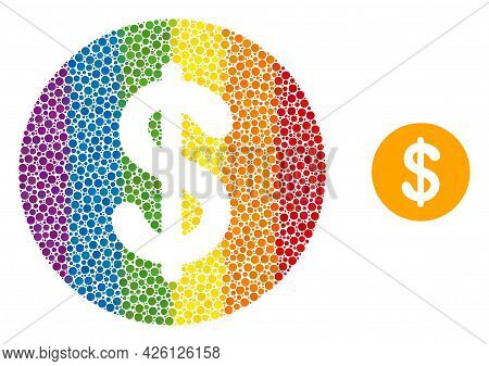 Dollar Coin Mosaic Icon Of Spheric Dots In Different Sizes And Rainbow Colored Shades. A Dotted Lgbt