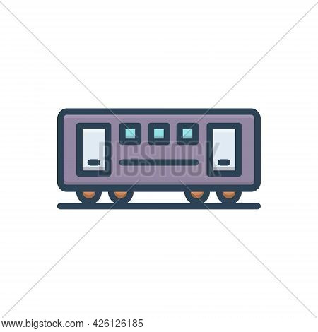 Color Illustration  Icon For Train Coach Bogie Container Railway Carriages