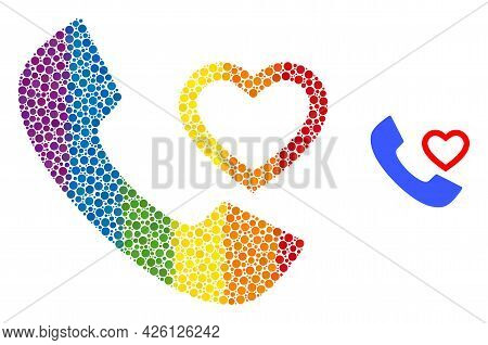 Love Phone Receiver Mosaic Icon Of Filled Circles In Variable Sizes And Spectrum Color Tints. A Dott