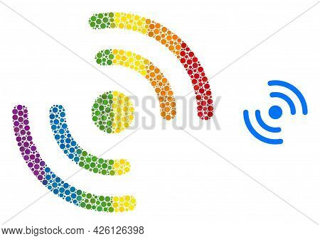Air Cooler Rotation Composition Icon Of Circle Spots In Different Sizes And Rainbow Multicolored Col
