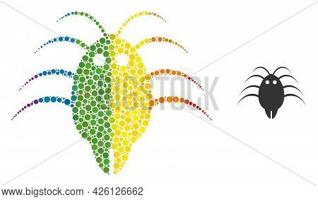 Parasite Composition Icon Of Circle Elements In Various Sizes And Spectrum Colored Color Hues. A Dot