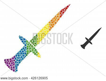 Sword Collage Icon Of Spheric Blots In Different Sizes And Spectrum Color Tints. A Dotted Lgbt-color