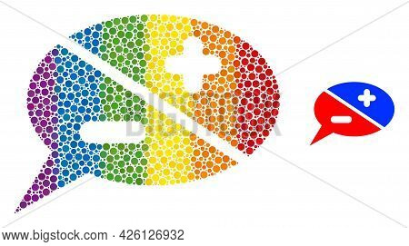 Chat Arguments Collage Icon Of Circle Spots In Different Sizes And Rainbow Color Tones. A Dotted Lgb
