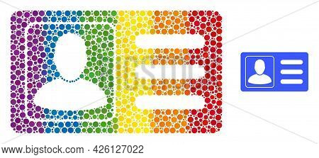 User Account Card Composition Icon Of Spheric Dots In Variable Sizes And Spectrum Colorful Color Hue