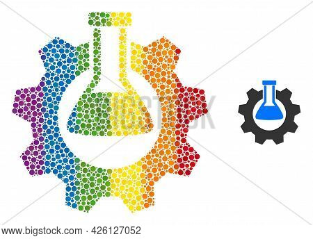 Chemical Industry Composition Icon Of Circle Spots In Variable Sizes And Rainbow Colored Shades. A D