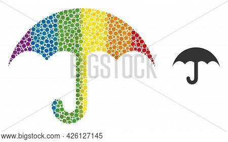 Umbrella Collage Icon Of Round Dots In Different Sizes And Rainbow Colored Color Tones. A Dotted Lgb