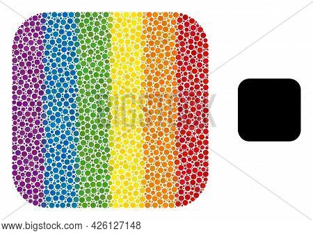 Rounded Square Composition Icon Of Round Dots In Various Sizes And Rainbow Color Tinges. A Dotted Lg