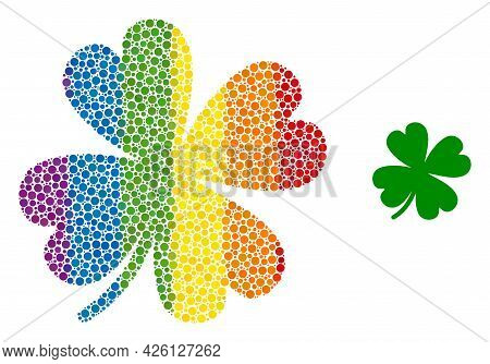 Lucky Clover Leaf Collage Icon Of Circle Elements In Different Sizes And Spectrum Multicolored Color