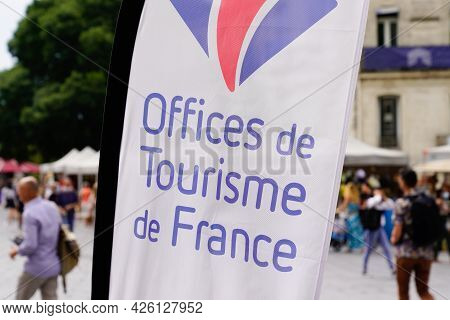 Toulouse , Ocitanie France  - 06 30 2021 : Office De Tourisme Logo Label On Flag Of French Tourism O