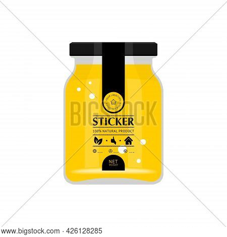 Transparent Sticker For A Glass Jar With Food. Vector Illustration Of A Glass Jar With Honey, Jam, B