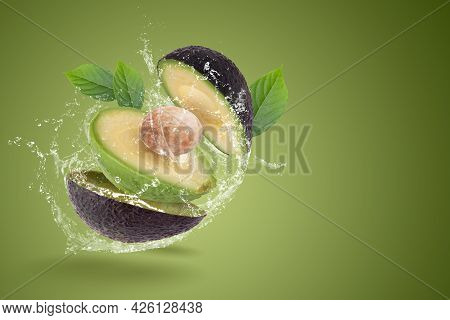 Fresh Avocado Isolated On A White Background