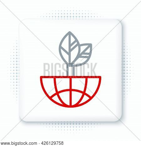 Line Earth Globe And Leaf Icon Isolated On White Background. World Or Earth Sign. Geometric Shapes.