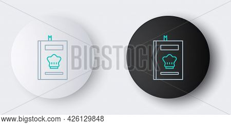 Line Cookbook Icon Isolated On Grey Background. Cooking Book Icon. Recipe Book. Fork And Knife Icons