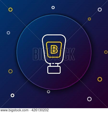 Line Sauce Bottle Icon Isolated On Blue Background. Ketchup, Mustard And Mayonnaise Bottles With Sau