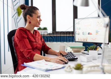 Successful Businesswoman Working On Computer In Company Office, Analyzing Financial Charts On Comput