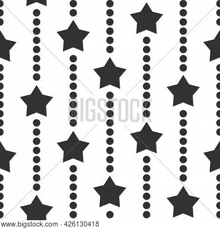 Seamless Background With Black Dots And Stars On White Background. Black Beads String With Balls And
