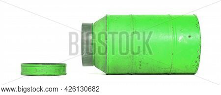 Old Nostalgic Can Isolated On White - Green Can