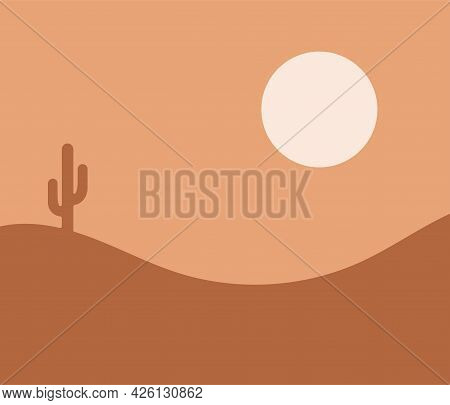 Vector Illustration Of A Desert Landscape Consisting Of Sand Hills, Cactus And Sun.