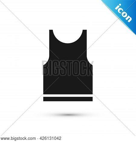 Grey Sleeveless T-shirt Icon Isolated On White Background. Vector Illustration