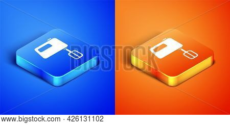 Isometric Electric Mixer Icon Isolated On Blue And Orange Background. Kitchen Blender. Square Button