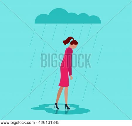 Unhappy Depressed Loneliness Sad Woman In Stress With Negative Emotion Problem Walking Under Rain Cl