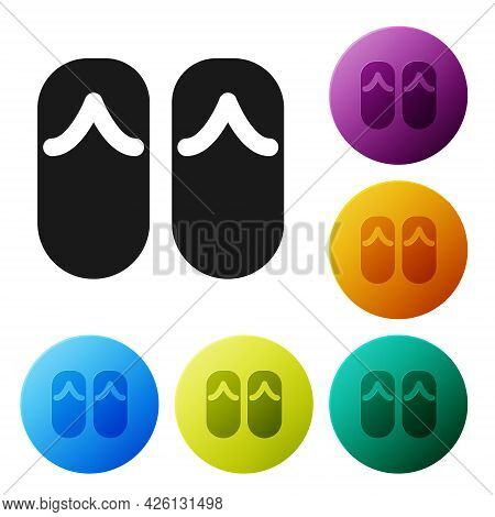 Black Flip Flops Icon Isolated On White Background. Beach Slippers Sign. Set Icons In Color Circle B