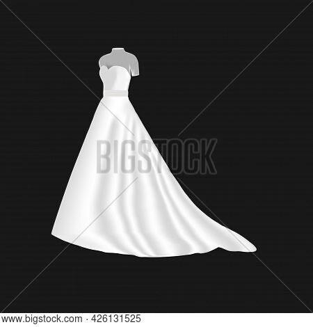 Wedding Dress On A Mannequin Isolated On A Dark Background. 3d. Vector Illustration