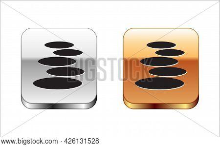 Black Stack Hot Stones Icon Isolated On White Background. Spa Salon Accessory. Silver-gold Square Bu