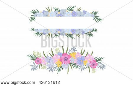 Floral Border Of Lush Blooming Flowers As Decorative Vector Composition Set