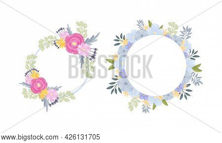 Floral Circle Frame Of Lush Blooming Flowers As Decorative Vector Composition Set