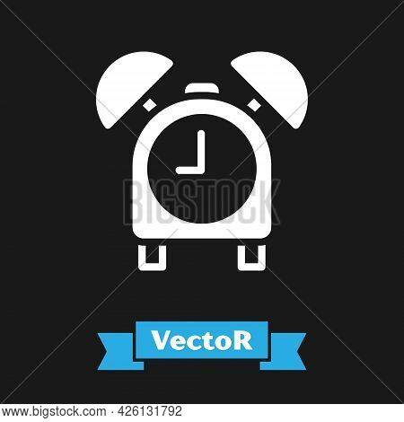 White Alarm Clock Icon Isolated On Black Background. Wake Up, Get Up Concept. Time Sign. Vector
