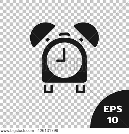 Black Alarm Clock Icon Isolated On Transparent Background. Wake Up, Get Up Concept. Time Sign. Vecto