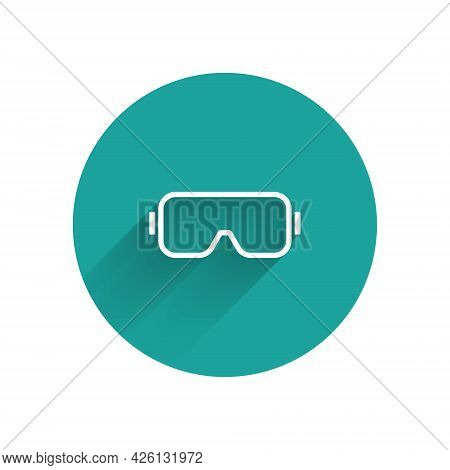 White Diving Mask Icon Isolated With Long Shadow. Extreme Sport. Diving Underwater Equipment. Green