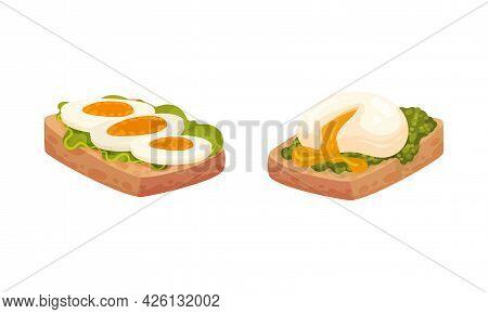 Boiled Egg Rested On Bread Slice As Appetizing Meal Vector Set