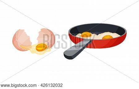 Raw Egg In Cracked Shell And Scrambled Egg On Frying Pan Vector Set