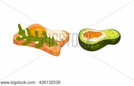 Scrambled Egg On Bread Slice And Avocado Vector Set