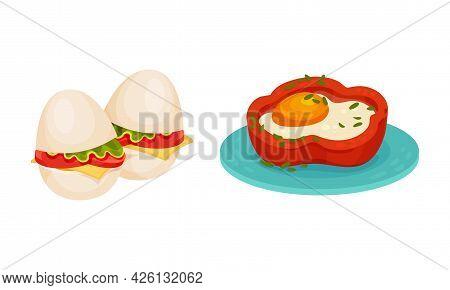 Stuffed Boiled Egg And Scrambled Egg In Bell Pepper Vector Set