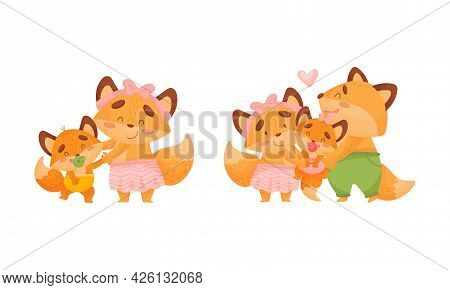 Happy Fox Family With Mother And Father Loving Their Little Cub Vector Set